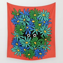 Shy Wallflower - retro botanical, anxiety, awkward, red, blue, green, flowers, daisies, 60s, 7 Wall Tapestry