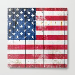 Vintage American Flag On Old Barn Wood Metal Print