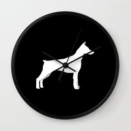 Doberman Pinscher dog pattern black and white minimal dog breed silhouette dog lover gifts Wall Clock