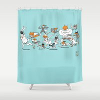 super heroes Shower Curtains featuring There are Super Heroes Everywhere by Nancy Lemon