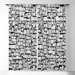 Book Lover Heart Library Pattern Blackout Curtain