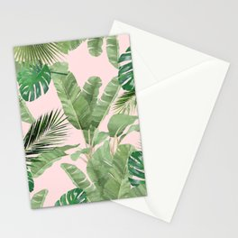 Watercolor Tropical Leaves Pattern on Pink Stationery Cards