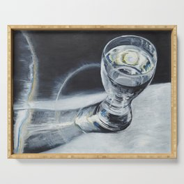 Glass of the water in the light Serving Tray