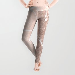 Paris France Minimal Street Map - Rose Gold Glitter on White Leggings