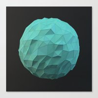 low poly Canvas Prints featuring Teal Low Poly Sphere by error23