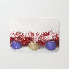 Christmas Baubles Tinsel and Snow Bath Mat