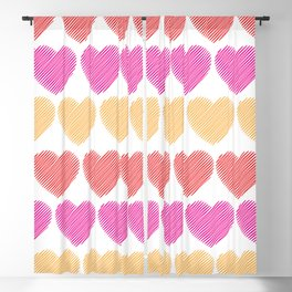 Colorful Hearts Blackout Curtain