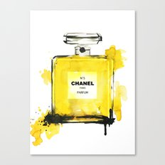 Yellow Perfume illustration - fashion illustration  Canvas Print