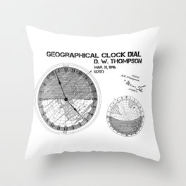 Geographical clock dial Thompson patent art Throw Pillow