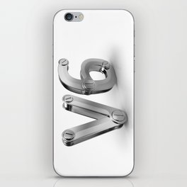 metal 3D V6 icon for six cylinders strong car engine iPhone Skin