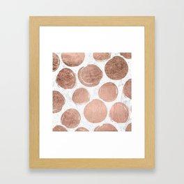 Modern rose gold foil polka dots and splatters white marble Framed Art Print
