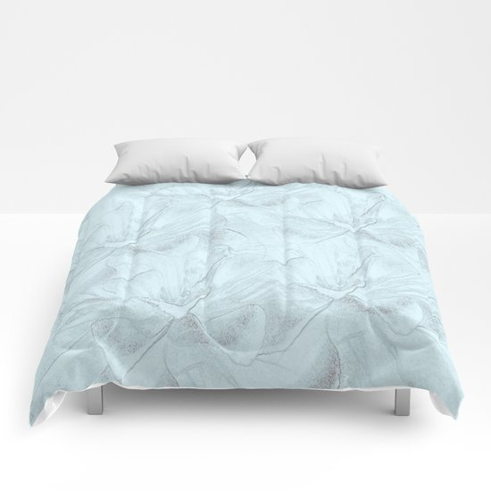 Delicate Mint Green Floral Abstract Comforters