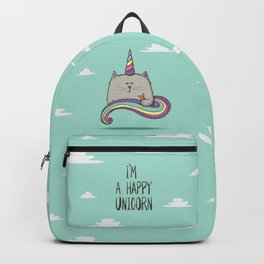I'm happy unicorn cat Backpack