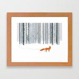 Fox in the white snow winter forest illustration Framed Art Print