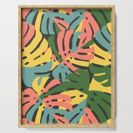 Color Blocked Monstera Leaves - Bold Serving Tray