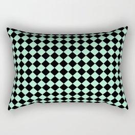 Black and Magic Mint Green Diamonds Rectangular Pillow