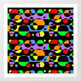 Rainbow Geometric Multicolored Modern Circle Pattern Art Print