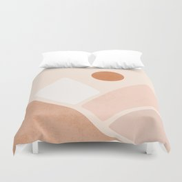 Warm Neutral mountain sun Duvet Cover