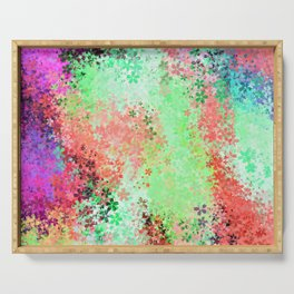 flower pattern abstract background in green pink purple blue Serving Tray