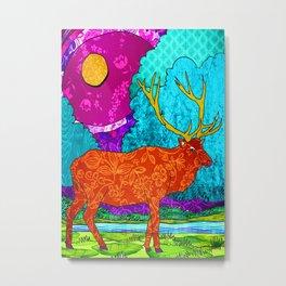 Purple Sky Elk Night Metal Print