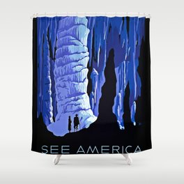 See America blue grotto vintage travel Shower Curtain