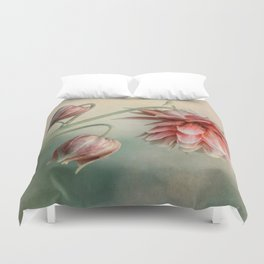 Delicate red columbine flower Duvet Cover