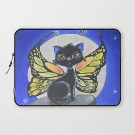 Buttercat - a cute black cat with colored butterfly wings, under the moonlight Laptop Sleeve