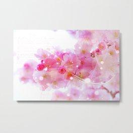 Japanese Sakura Tree with Pastel Pink Blossoms Metal Print