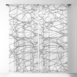 Hand Drawn Scribbles (black/white) Sheer Curtain