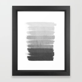 Brushstroke - Ombre Grey, Charcoal, minimal, Monochrome, black and white, trendy,  painterly art  Framed Art Print