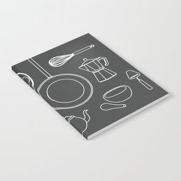 kitchen tools (white on black) Notebook