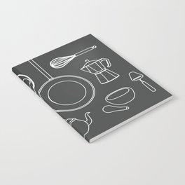 kitchen tools (white on black) Notebook