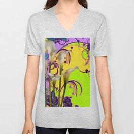 Fantasy Calla Lily Garden Gold-Lilac-Lime Color Designs Unisex V-Neck