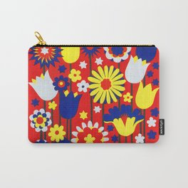 Colorful Flower Blooms Vintage Poster Carry-All Pouch