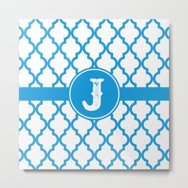 Blue Monogram: Letter J Metal Print