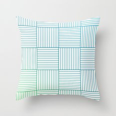 Woven Squares in Blue and Green Throw Pillow