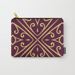 Decorative Floral Pattern 7 - Loulou Purple Red, Old Gold Carry-All Pouch