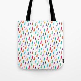 Modern rainbow colors watercolor rain drops pattern Tote Bag
