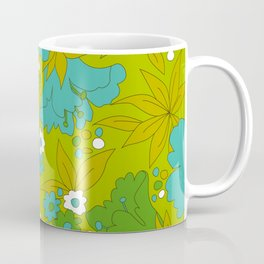 Green, Turquoise, and White Retro Flower Design Pattern Coffee Mug
