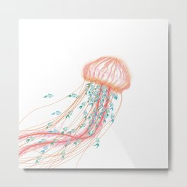 Robot Jellyfish Metal Print
