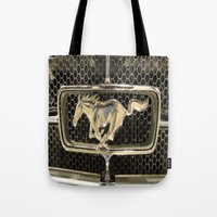 mustang Tote Bags featuring Mustang  by Dragons Laire