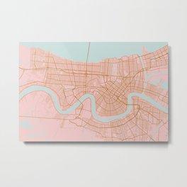 New Orleans map, Lousiana Metal Print