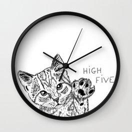 Kitten high five Wall Clock