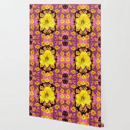 TROPICAL YELLOW & GOLD AMARYLLIS FLOWERS PATTERN ON Wallpaper