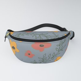 Orange and Red Poppy Flowers with Green Vines on Blue Background Fanny Pack