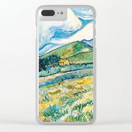 Mountain Lanscape behind the hospital saint paul by Vicent Van Gogh Clear iPhone Case