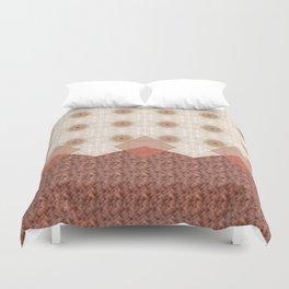 Terracotta Diamond Mandala and Graphic Weave Tile Duvet Cover