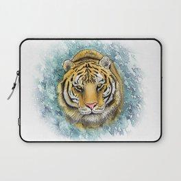 Amur Tiger Watercolor Portrait Laptop Sleeve