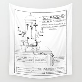 La Pavoni Patent Drawing Poster (Very Old & Rare) Wall Tapestry