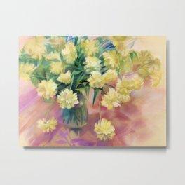 Yellow flowers rudbeckia. Gold balls. Pastel. Metal Print